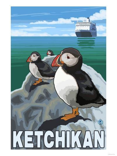 Puffins & Cruise Ship, Ketchikan, Alaska-Lantern Press-Art Print
