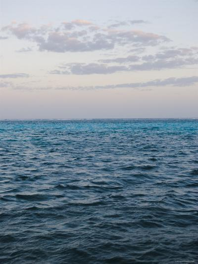 Puffy Clouds on Horizon with Caribbean Turquoise Blue Ocean Foreground, Ambergris Caye, Belize-James Forte-Photographic Print
