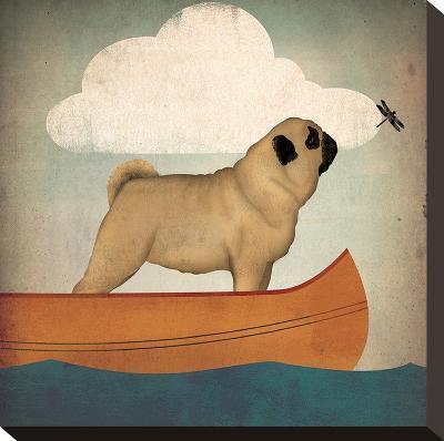 Pug Canoe-Wild Apple Portfolio-Stretched Canvas Print