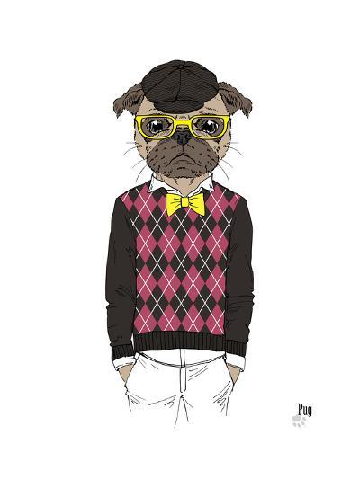 Pug in Hipster Style-Olga Angellos-Art Print