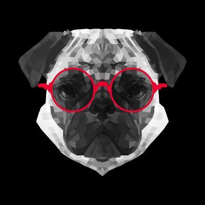 Pug in Red Glasses-Lisa Kroll-Art Print