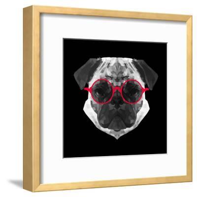 Pug in Red Glasses-Lisa Kroll-Framed Art Print