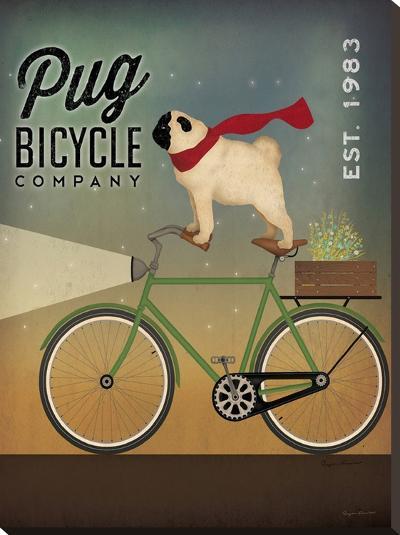Pug On A Bike-Wild Apple Portfolio-Stretched Canvas Print