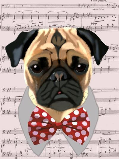 Pug with Red and White Spotty Bow Tie-Fab Funky-Art Print