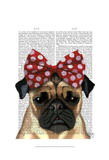 Pug with Red Spotty Bow On Head-Fab Funky-Art Print