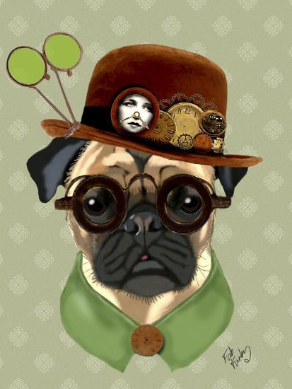 Pug with Steampunk Bowler Hat-Fab Funky-Art Print