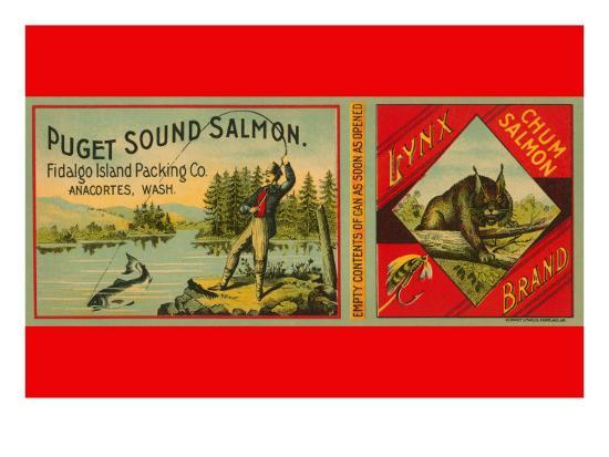 Puget Sound Salmon Can Label--Art Print