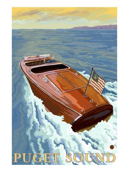 Puget Sound, Washington, Chris Craft Boat-Lantern Press-Art Print