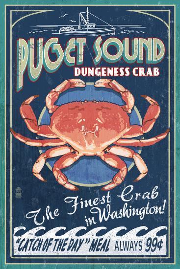 Puget Sound, Washington - Dungeness Crab Vintage Sign-Lantern Press-Art Print