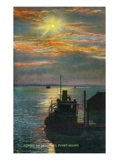 Puget Sound, Washington - View of a Sunset from a Docked Ship, c.1928-Lantern Press-Art Print