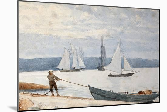 Pulling the Dory, 1880-Winslow Homer-Mounted Giclee Print