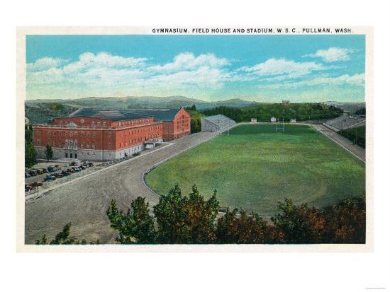Pullman, Washington - Aerial View of WA State College Gym and Stadium-Lantern Press-Art Print