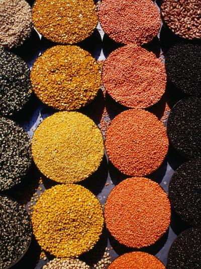 Pulses and Grains at Azadpur Market, Delhi, India-Richard I'Anson-Photographic Print