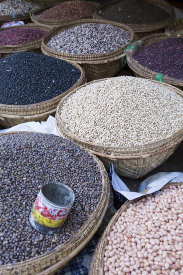 Pulses in the Market, Monywa, Sagaing, Myanmar, Southeast Asia-Alex Robinson-Photographic Print