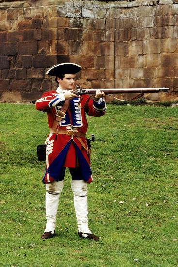 Pulteney's Regiment, 13th Foot, 1745, Soldier with Musket, as Deployed at Culloden--Giclee Print