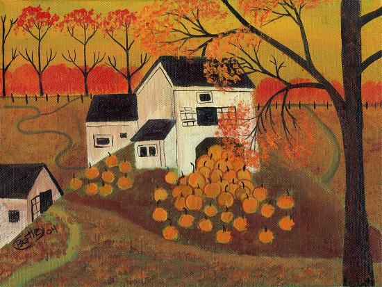 Pumpkin Barn Autumn Folk Art Cheryl Bartley-Cheryl Bartley-Premium Giclee Print