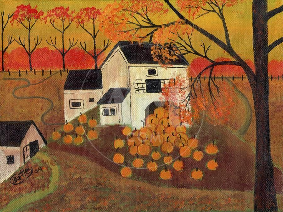 pumpkin barn autumn folk art cheryl bartley giclee print by cheryl