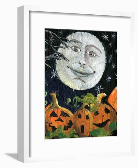 Pumpkin Patch Halloween Full Moon Face-sylvia pimental-Framed Art Print