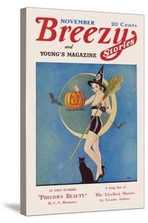 Pumpkin Witch- CAL-Stretched Canvas Print