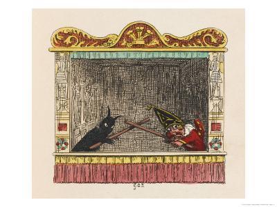 Punch Fights Old Nick-George Cruikshank-Giclee Print