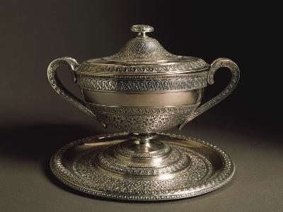 Punched Silver Tureen with Tray, Volute-Shaped Handles and Cover, 1849--Giclee Print