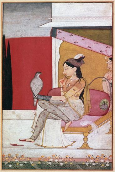 Punjabi illustration of a lady with a hawk. Artist: Unknown-Unknown-Giclee Print