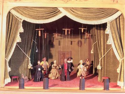 Puppet Theatre with Marionettes, 18th Century--Giclee Print