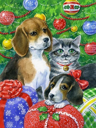 Puppies and Kitten under the Tree-Geraldine Aikman-Giclee Print