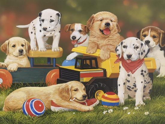 Puppy Play Group-William Vanderdasson-Giclee Print