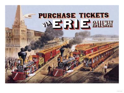 Purchase Tickets Via Erie Railway--Art Print