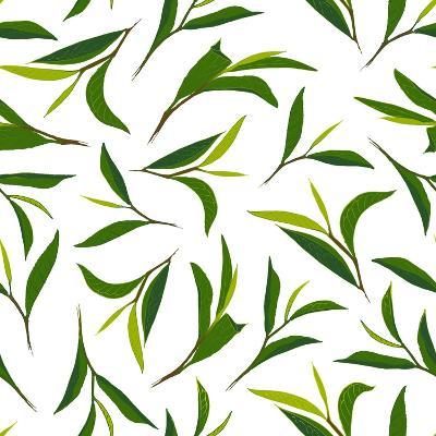 Pure Tea. Botanical Style Seamless Pattern- IraChe-Art Print