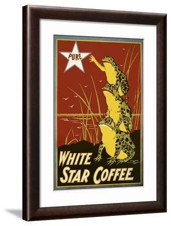 Pure White Star Coffee, Frogs--Framed Giclee Print