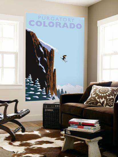 Purgatory, Colorado - Skier Jumping-Lantern Press-Wall Mural