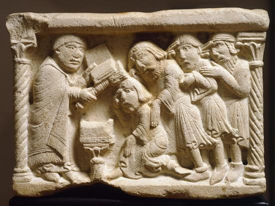 Purification of Knight, Detail from Holy Water Font, Emilian Sculptor, Early 12th Century, Relief--Giclee Print