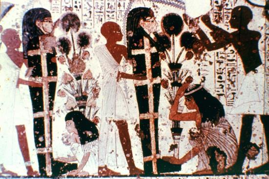 Purification of Mummies, detail from a temple wall painting, Thebes, Egypt. Artist: Unknown-Unknown-Giclee Print