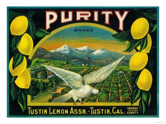 Purity Lemon Label - Tustin, CA-Lantern Press-Art Print