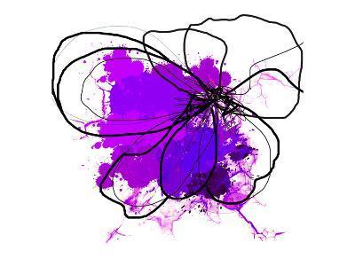 Purple Abstract Brush Splash Flower-Irena Orlov-Art Print