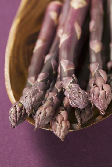 Purple Asparagus in Wooden Bowl-Foodcollection-Photographic Print