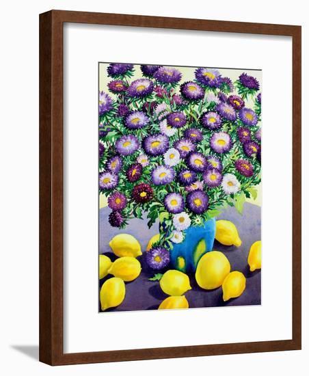 Purple Asters and Lemons-Christopher Ryland-Framed Giclee Print