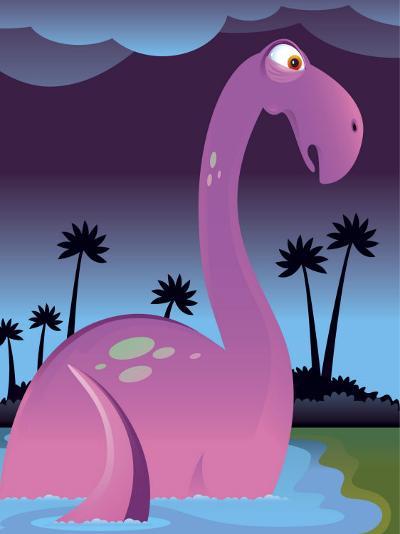 Purple Dinosaur in Lake--Photo