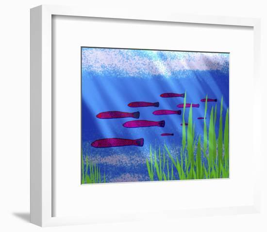 Purple Fish in Calm Blue Water with Seagrass-Rich LaPenna-Framed Giclee Print