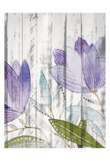 Purple Floral on Wood 1-Kimberly Allen-Art Print
