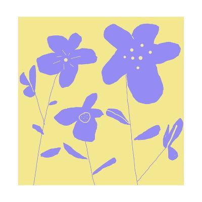 Purple Flowers and Stems on Yellow Background--Art Print