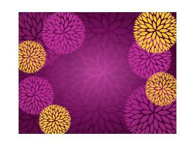 Purple Gold Abstract Flower Background- pandamanda827-Art Print