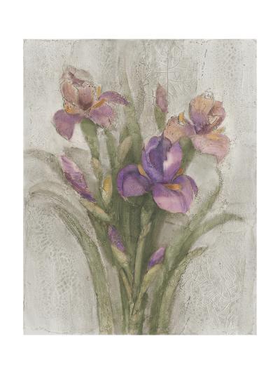 Purple Iris Garden on Grey-Albena Hristova-Art Print