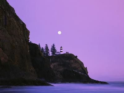Purple Skies Over Lighthouse-Craig Tuttle-Photographic Print