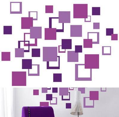 Purple Squares 84 Stickers--Wall Decal