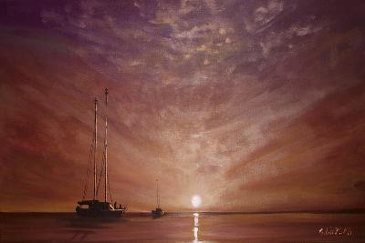 Purple Sunset Boating-Cherie Roe Dirksen-Giclee Print
