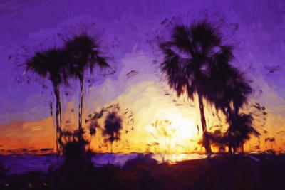 Purple Sunset - In the Style of Oil Painting-Philippe Hugonnard-Giclee Print