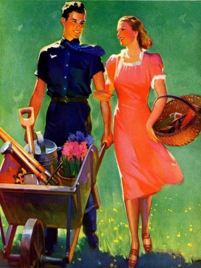 """Pushing Her Wheelbarrow,""April 1, 1938-F. Sands Brunner-Giclee Print"